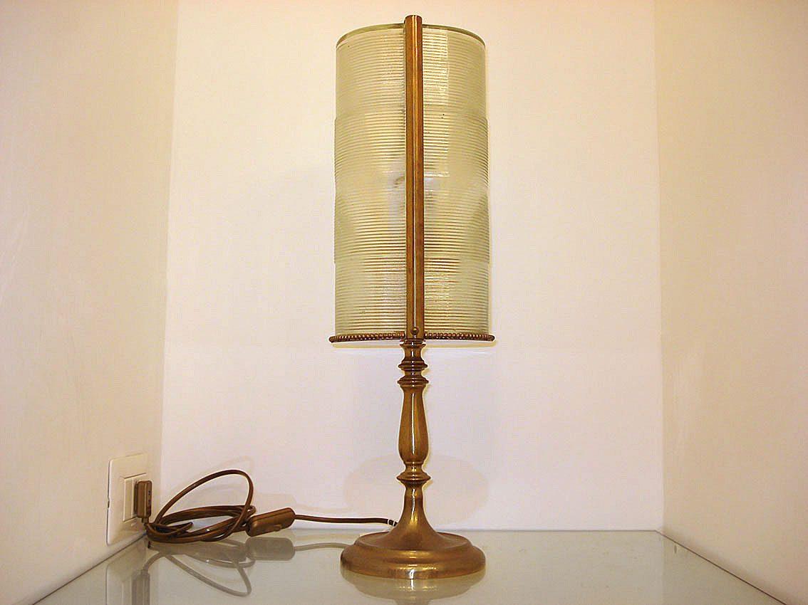 Lampade In Vetro Anni 70 : Lampada in ottone con coppia di vetri industriali francia anni
