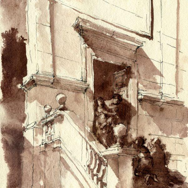 """Opera Grafica """"Curare gli infermi - La Madonna di Loreto accoglie la supplica sull'uscio della Chiesa di Sant'Agostino"""" del Maestro Giancarlo Micheli"""