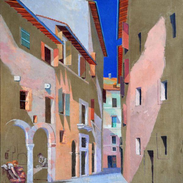 """Opera Grafica """"Dar da mangiare agli affamati - Distribuzione dei pani in Via dell'Arco della Pace"""" del Maestro Giancarlo Micheli"""