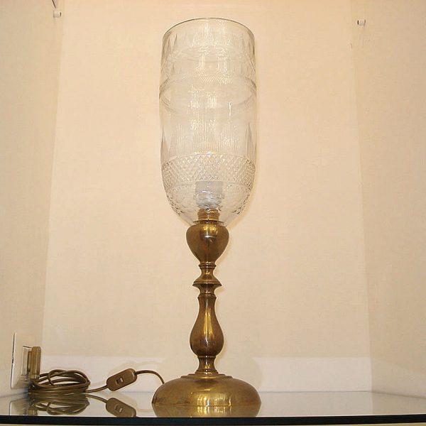 """Lampada in ottone e cristallo molato antico Francia epoca 1910 della """"Nuovi Lumi Antichi"""" di Claudio Pascucci"""