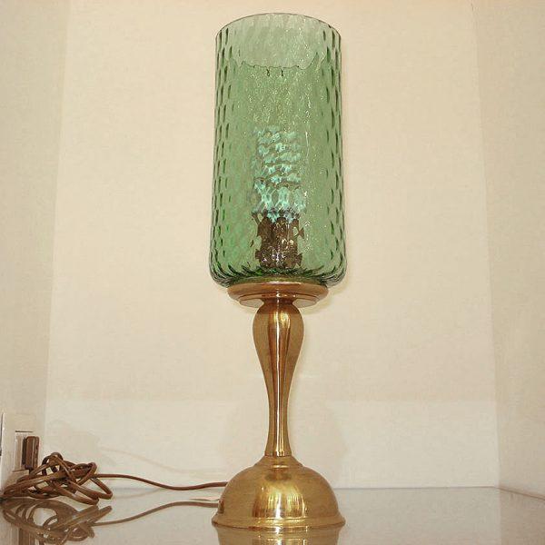 """Lampada in ottone con vetro di Murano anni '60 colore verde della """"Nuovi Lumi Antichi"""" di Claudio Pascucci"""