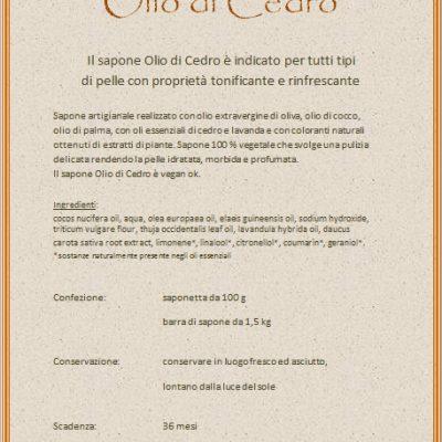 """Sapone """"Olio di Cedro"""" della Saponeria Luna Roma"""